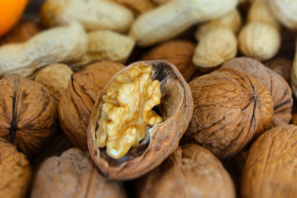 nuts, peanuts, walnut
